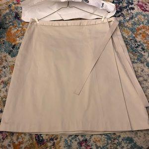 Khaki Brooks Brothers Wrap Skirt w/ Ribbon Detail